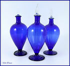 SET OF 3 PRETTY COBALT BLUE ORNAMENTAL HAND BLOWN 4