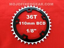 """MOJO Fixed Gear Chainring 36T - 110 BCD Track Fixie single speed 1/8"""" - BLACK"""