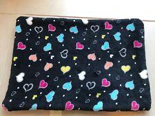 Small Animal Soft Fleece Pee Pad / Mat / Bedding (Black+Hearts 32x46cm (B))