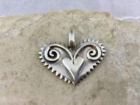 Vintage 925 Sterling Silver Heart Pendant Raised Double Heart Design Thailand