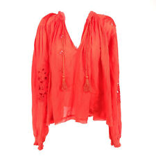 Free People Tropical Summer Hooded Embroidered Top Blouse Red XS Long Sleeve