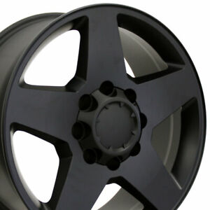 "20"" Rim Fits 8-Lug Chevy Silverado HD Wheel 8-165 CV91A Satin Black 5503 20x8.5"
