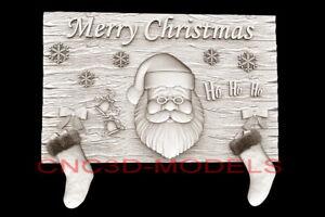 3D Model STL for CNC Router Artcam Aspire Merry Christmas Santa Claus D726
