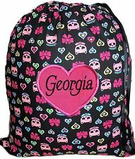 Personalised drawstring library bag - Kitty Cats
