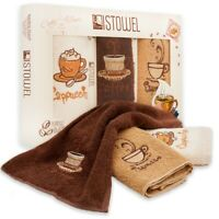 """Kitchen Towels and Dishcloths Sets - 12"""" x 20"""" Cotton Terry Dish Towels Coffee"""