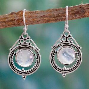 Antique Women Jewel Silver 925 Moonstone Wedding Party Drop Dangle Earrings Ear