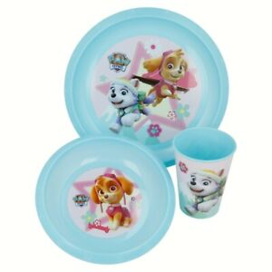 KIDS PAW PATROL PLASTIC 3 PC MEAL BREAKFAST PLATE BOWL TUMBLER CUP DINNER SET