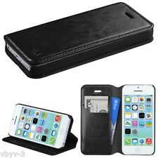 BLACK Leather Wallet Card Holder Case Cover Folio Flip Pouch for Apple iphone 5C
