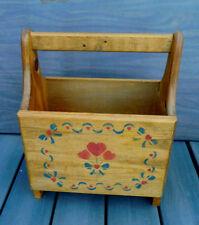 SWEET Vtg. Cottage Primitive Wooden Newspaper / Magazine Rack / Sewing Caddy