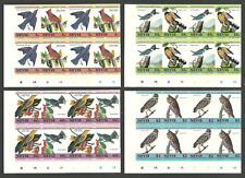 NEVIS 1985 AUDUBON ART PAINTINGS BIRDS CYLINDER BLOCKS IMPERF SET MNH
