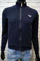 Felpa Blu Uomo EMPORIO ARMANI Taglia S Maglione Cardigan Pullover Sweater Man