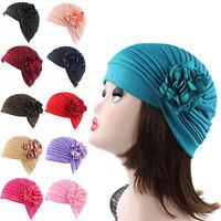 Muslim Women Flower Indian Stretch Turban Hat Chemo Cap Hair Loss Headscarf Wrap