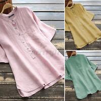 ZANZEA Women Summer Short Sleeve Solid Cotton Linen Shirt Casual Top Blouse Plus