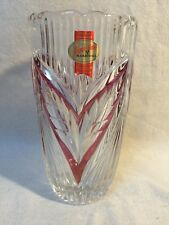 Anna Hutte Bleikristall Germany Cranberry & Clear 24% Lead Crystal Vase Nice!