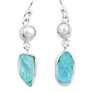10.31cts Natural Aqua Aquamarine Rough Pearl 925 Silver Dangle Earrings T35498