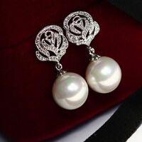 Elegant Rose Flower Pearl Crystal Rhinestone Ear Stud Earrings Jewelry