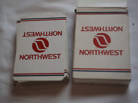 Vintage NORTHWEST ORIENT AIRLINES PLAYING CARDS in original box RED WHITE BLUE