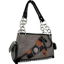 Horse & Western Ladies Womens Horse Motif Handbag - Montana West - Grey