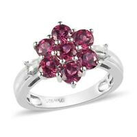 925 Sterling Silver Platinum Over Garnet Zircon Flower Ring Gift Size 7 Ct 3.9