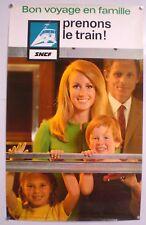 BON VOYAGE EN FAMILLE - AFFICHE SNCF ORIGINALE – TRES RARE - 1967