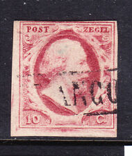 NETHERLANDS 1852 SG2 10c carmine unplated - 4 margins close at top. Cat £44