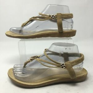 Unbranded Womens 40 Thong Metal Charm Accent Slingback Casual Sandals Tan Suede