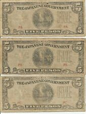3 Notes  5  PESOS PHILIPPINES JAPANESE INVASION MONEY CURRENCY NOTE WW2 # 57