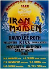 Iron Maiden Monsters Of Rock Tour 1988 Poster, 24 x 36 Print David Lee Roth KISS