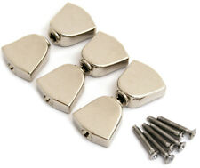 NEW 6 Nickel Keystone Buttons, Screws for Grover Tuners Keys Buttons TK-7722-001
