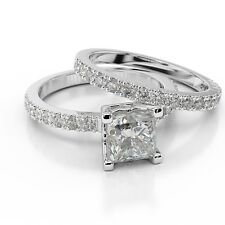 CHRISTMAS 2 CT PRINCESS DIAMOND ENGAGEMENT RING SET D/SI 14K WHITE GOLD ENHANCED