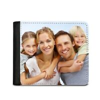 PERSONALISED YOUR OWN PHOTO & TEXT BLACK FAUX LEATHER MENS WALLET FATHERS DAY