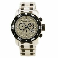 Invicta Men's Watch Pro Diver Chronograph Grey Dial Two Tone Bracelet 0690