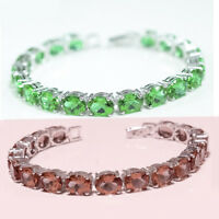 Fine 925 Sterling Silver Color Change Diaspore Gemstone Jewelry Bracelet Love AA