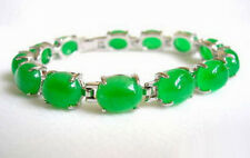 Emerald Green Jade Beads White Gold Plated Link Clasp Bangle Bracelet