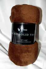 """PERSONAL FAMILY THROW SOLID SUPER SOFT BLANKET TRAVEL FLEECE 50""""X60"""" BROWN"""