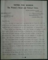 EMMELINE PANKHURST LETTER , SUFFRAGETTE MOVEMENT ,  29th JANUARY 1914