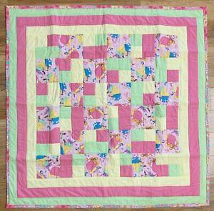 "Baby Quilt Handmade Girls Pink Princess Snow White  44"" x 44"" XL  New"