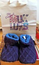 Muk Luks Women's Knit Slippers/Boots size Small(5-6)Chocolate w/Shop Bag New
