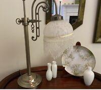 BEADED GLASS SHADE Brass & White Victorian Art Nouveau Heavy Lamp w/Swing Arm