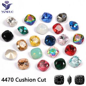 Cushion Cut All Colors Sewing Glass Rhinestones Sew On Diamond Strass Stones DIY