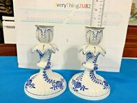 Antique Pair (2) Meissen blue onion pattern candle stick .Beautifull Condition.