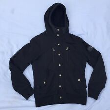 Diesel Co Only the Brave Mens L Faux Fur Lined Full Zip Snap Black Hoodie Jacket