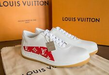 LOUIS VUITTON X SUPREME MONOGRAM SPORT SNEAKERS RED/WHITE SIZE 8 - LIMITED!