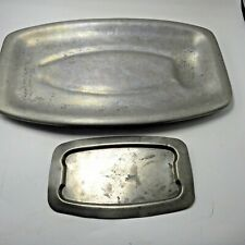 Rustic Metal Rectangle Platters Serving Dish Plate Tray Vintage Lot 2