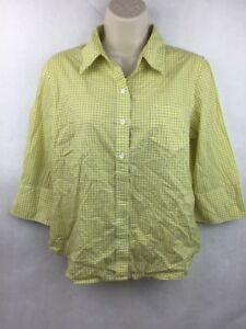 "Girl's J. Crew Green Plaid Button Up 3/4 Sleeve Shirt 20"" L 19"" W 16"" Sleeve"