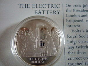 ELECTRIC BATTERY MANKIND INVENTIONS HALLMARKED SILVER PROOF MEDAL BY J PINCHES