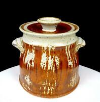 MCGLAUGHLIN SIGNED STUDIO ART POTTERY BROWN DRIP GLAZE STONEWARE 5 7/8 CANISTER