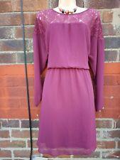 Ladies skater Tea Dress UK 22 burgundy lace autumn winter elasticated waist
