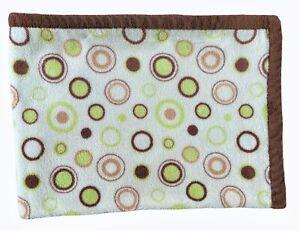 Carters Brown Green White Circles Polka Dots Spots Rings Baby Boy Plush Blanket