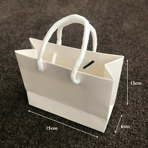 10x Small Handle Carry Bag 15x13x6cm Black White Gift Party Favour Packaging